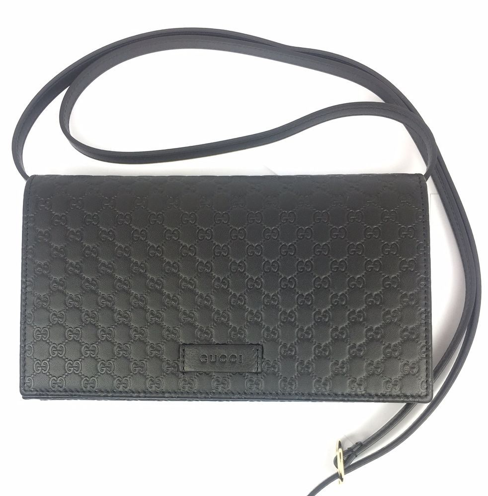 c512d5ad AUTHENTIC Gucci GG Micro-Guccissima Black Leather Crossbody/Wallet ...