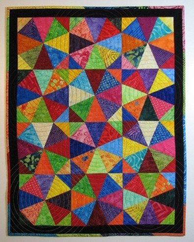 Quilted Wall Hanging, Modern Rainbow Kaleidoscope Art Quilt ... : handmade quilted wall hangings - Adamdwight.com