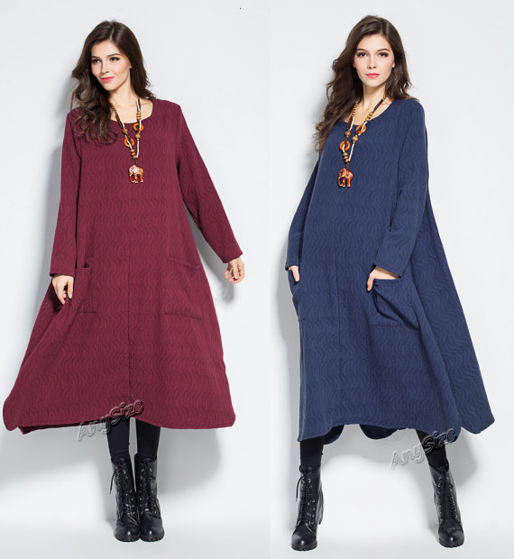 Anysize front pockets ripple jacquard weave soft cotton dress plus size dress plus size clothing Spring Fall Winter dress Y262.  Request a custom order and have something made just for you.