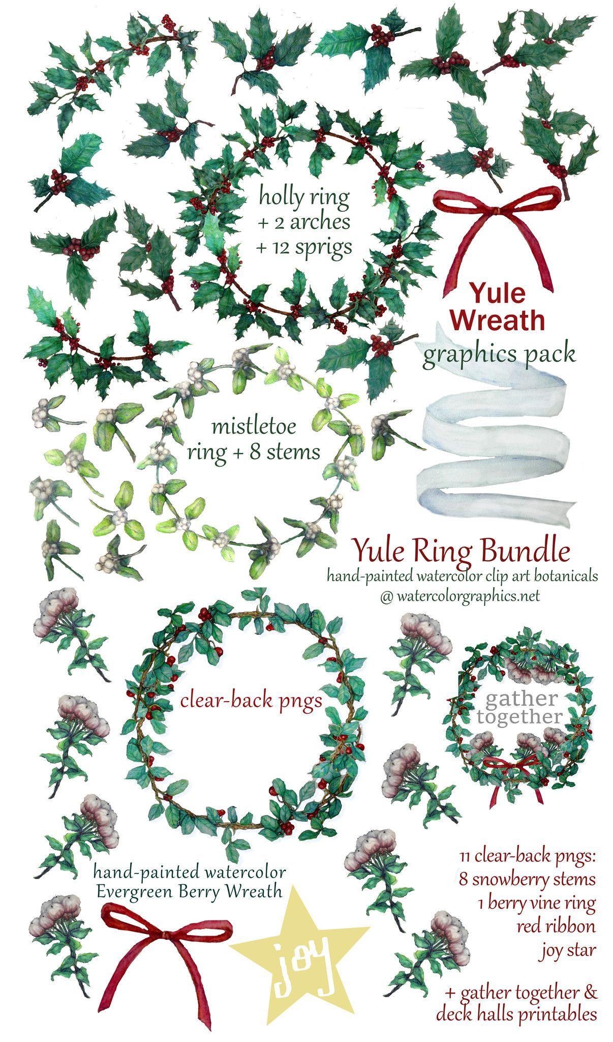 Yule Wreath Bundle Watercolor Clip Art Mistletoe And Holly Vinyl