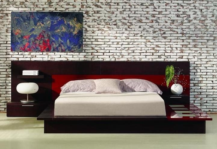 Photo Of Contemporary Lighted Platform Bed With Built In Nightstand Wenge Finish Gloss Red Accents Rimini Beds Sizes King Size