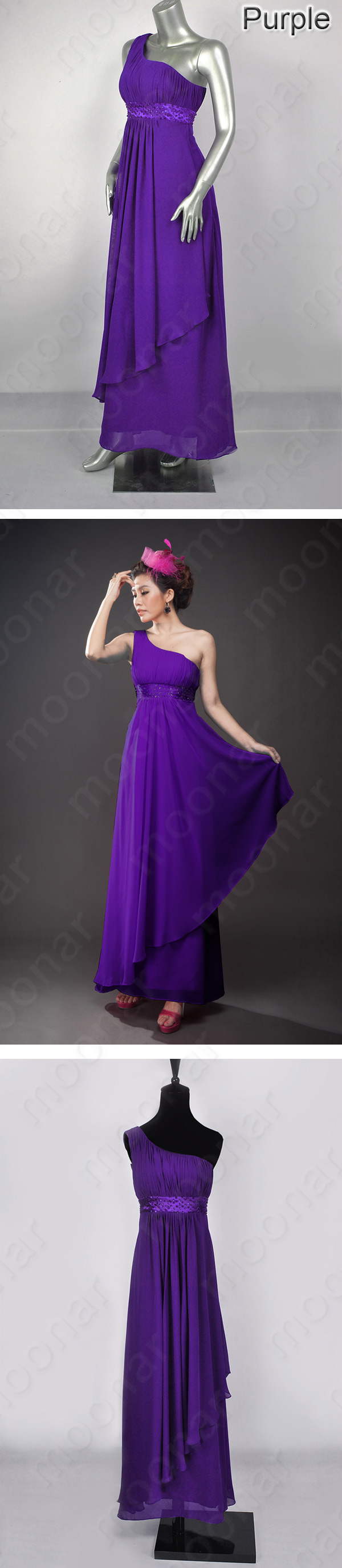 New Black/Purple Bridesmaid Long Mother Prom Gown Dress Party Plus ...