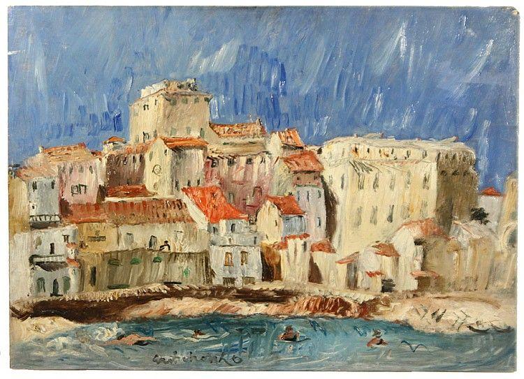 Aleksei Vasilievich Gritchenko (Ukrainian 1883-1977), 'Ile Rousse, Corsica' 1927, oil on panel