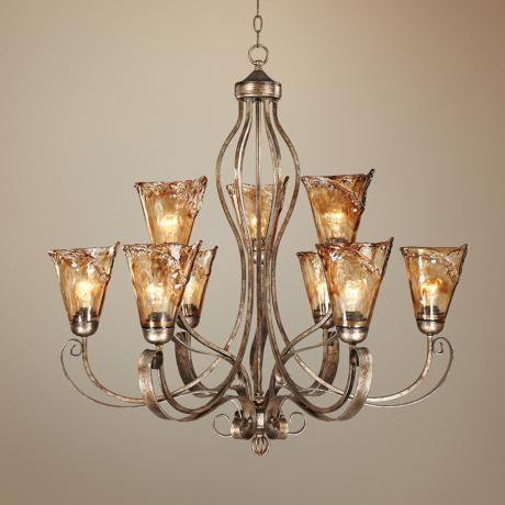 Amber Scroll 35 1 2 Wide Art Glass Chandelier 66491 Lamps Plus Franklin Iron Works Chandelier Chandelier Lighting Fixtures