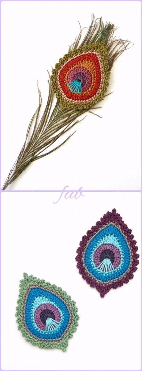 Crochet Peacock Feather Motif Patterns | Pinterest | Amirigumi, Chal ...