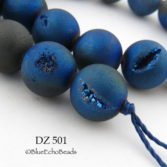 10mm Blue Druzy Agate Geode Beads Matte Blue by BlueEchoBead
