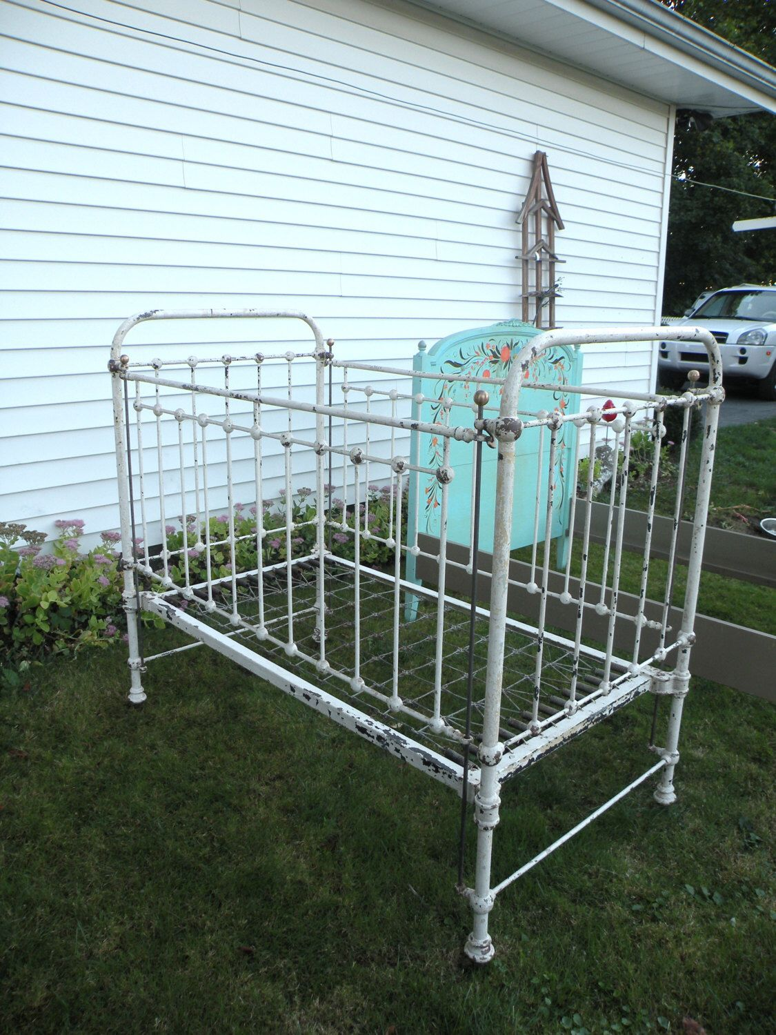 Antique Wrought Iron Baby Bed Crib