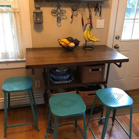 Handmade industrial pipe and solid wood kitchen island This island ...