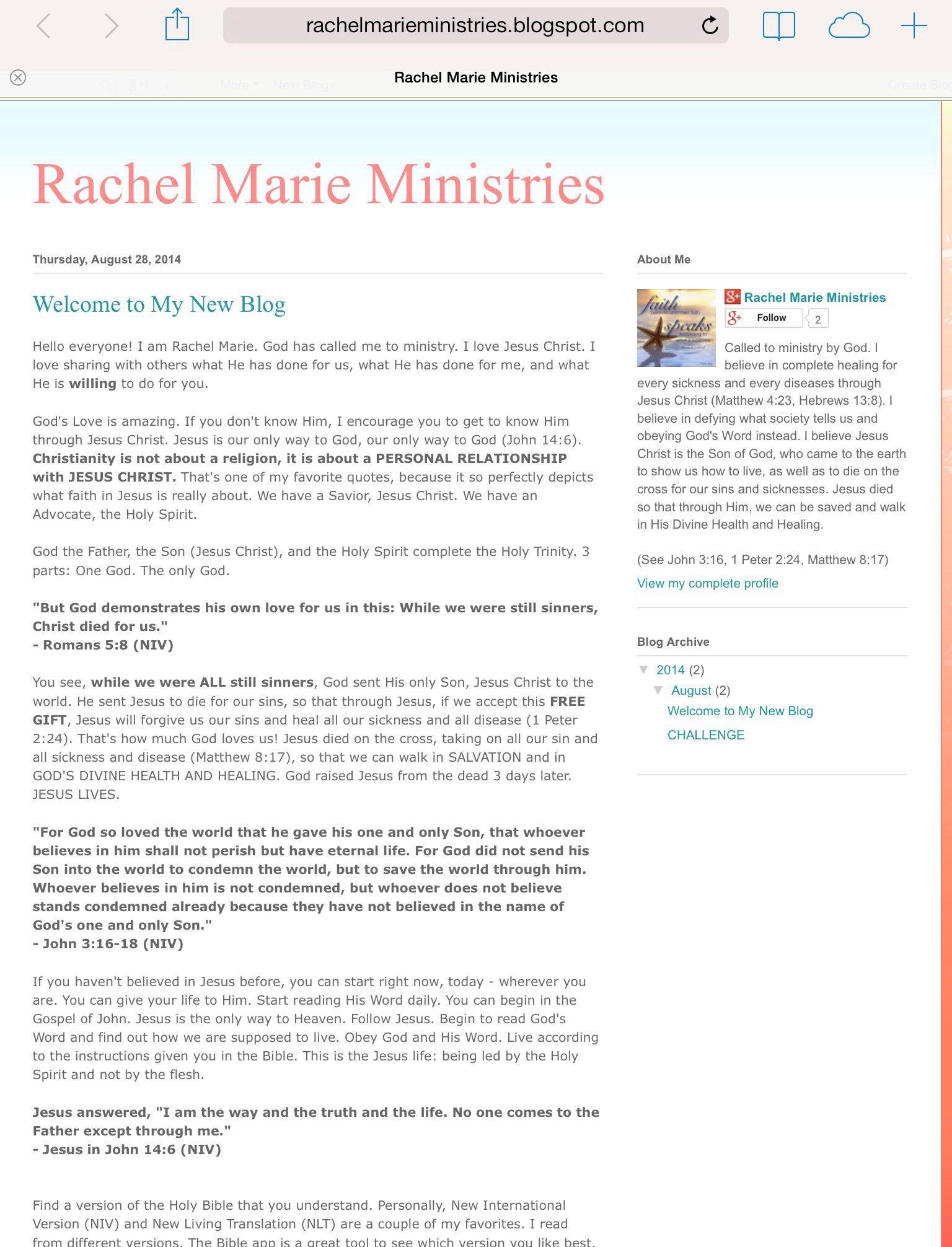 RachelMarieMinistries.blogspot.com  Welcome to my new blog :)