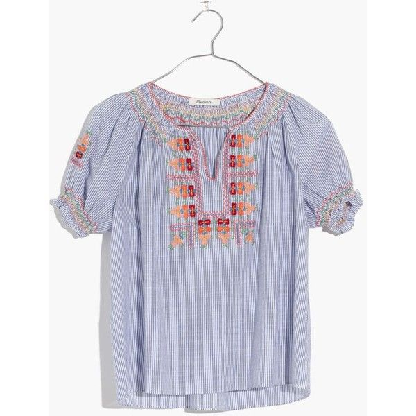 MADEWELL Embroidered Penny Peasant Top ($98) ❤ liked on Polyvore featuring tops, brilliant royal, peasant crop top, striped tops, smocked top, stripe crop top and embroidery top