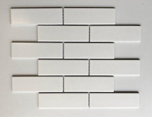 2x6 matte finish white brick ceramic mosaic tile walls and