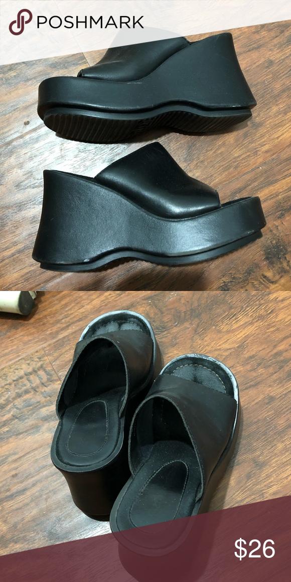 6194213f3c67 Chunky platform sandals Super cute black chunky sandals I got on Depop ! I never  wore
