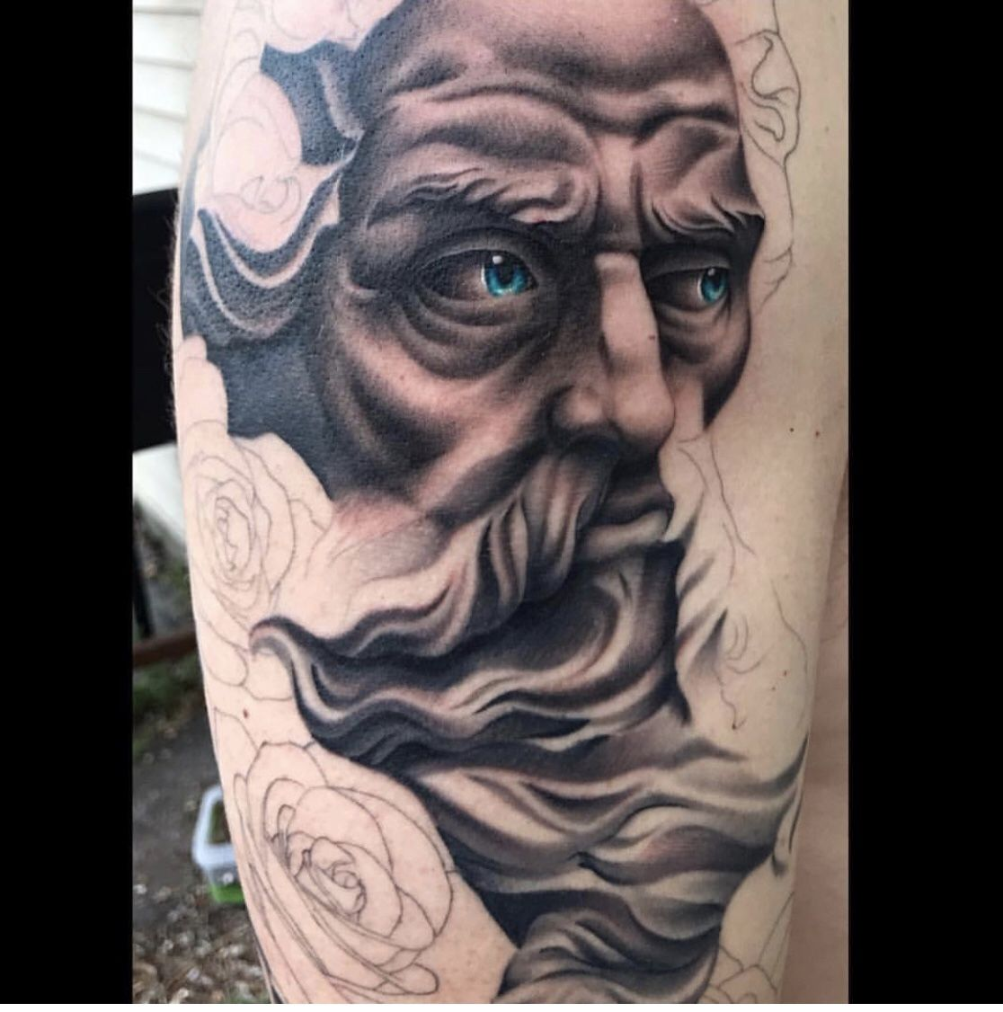 Beginning Of A Black And Grey Zeus Tattoo With Pops Of Color Temple Tattoo Tattoos Zeus Tattoo