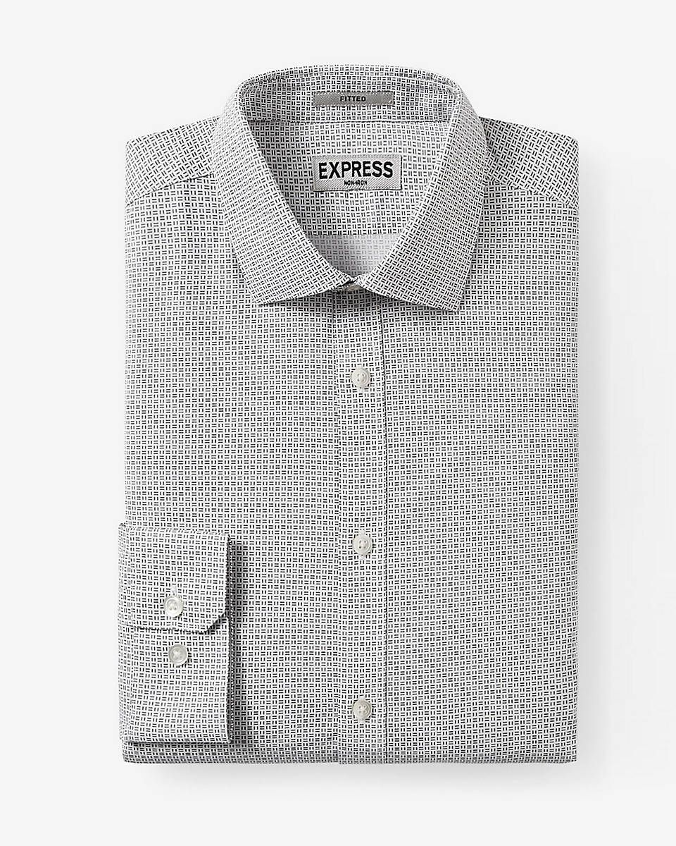 fitted micro geo print non-iron dress shirt
