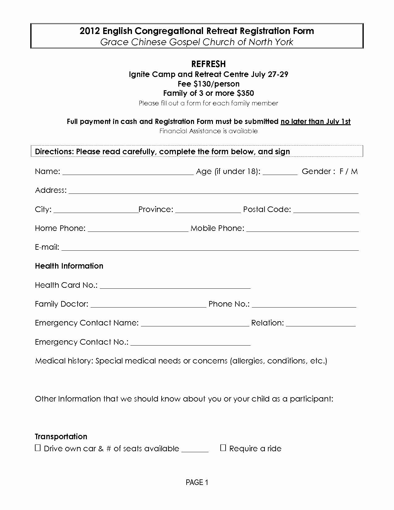Camp Registration Form Template Word Fresh Retreat Registration Forms Registration Form Registration Form Sample Event Registration