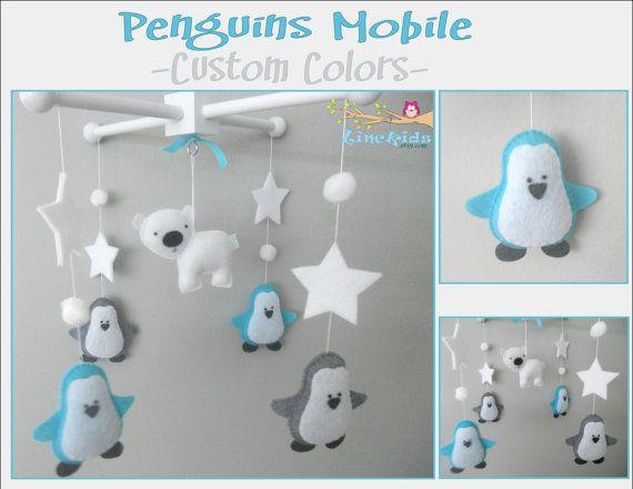 Baby Crib Mobile-Penguins Mobile No10-Polar Bear Mobile-Artic/Antartic Crib Mobile-Turquoise and gray Mobile on Etsy, $58.00