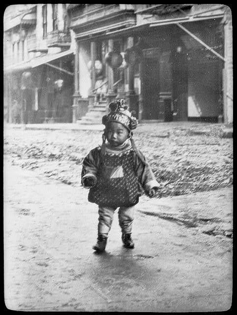 Photo: Lantern slide of Chinatown,child,c1896,by Arnold Genthe