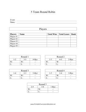 this free printable is a round robin bracket that can fit the scores