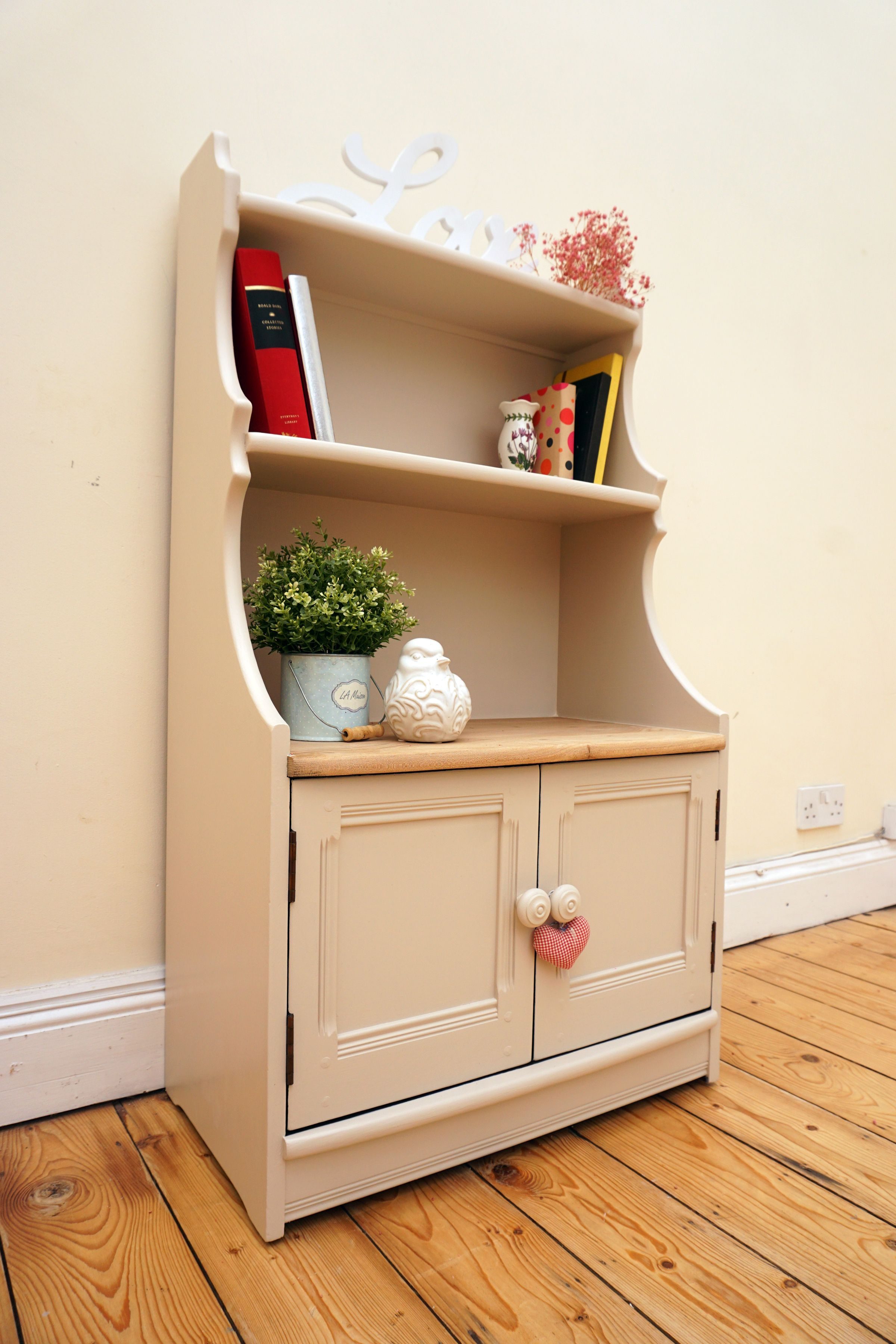 Upcycled ERCOL Bookcase painted in Laura Ashley Soft Truffle