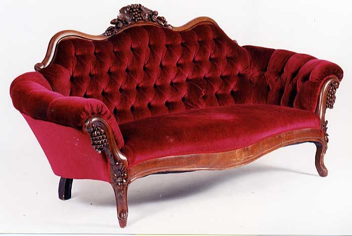 Dark Red Velvet Sofa