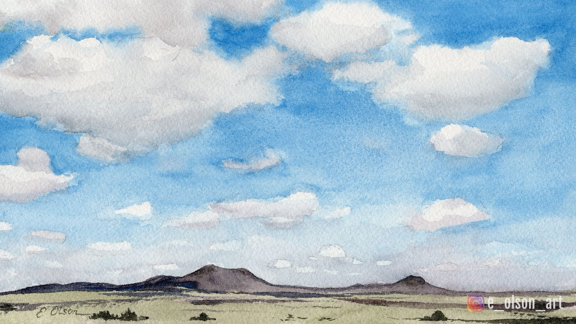 How To Paint Clouds And Landscape Watercolor Tutorial Clouds