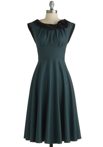 Classical Beauty Dress by Stop Staring! - Woven, Long, Green, Black, Solid, Flower, Party, Cocktail, Vintage Inspired, 40s, 50s, A-line, Cap...