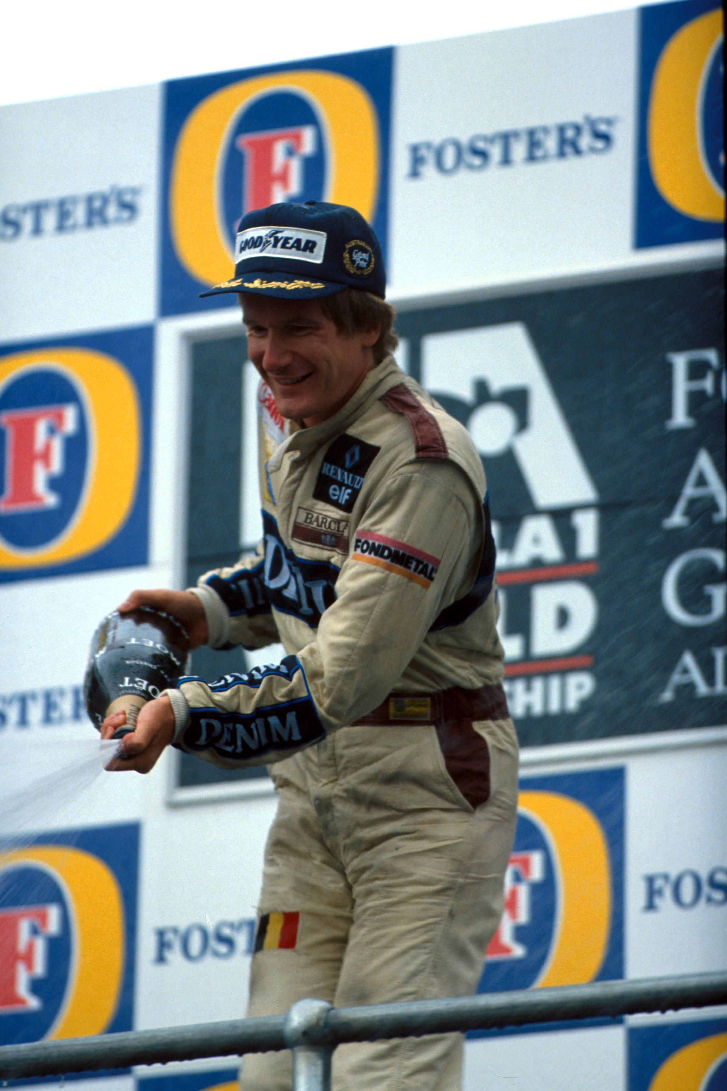 Thierry Boutsen celebrates winning the 1989 Australian GP, his team-mate Riccardo Patrese was 3rd.