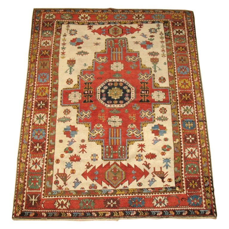 An authentic antique Shirvan woven with original and natural colors , 100 % Vegetable dyed. Not to be mistaken for a reproduction. Country: Russia, Circa 1880's, LENGTH: 5 ft. 2 in. (157 cm) HEIGHT: 48 in. (122 cm) - J Oriental Rugs Co., New York