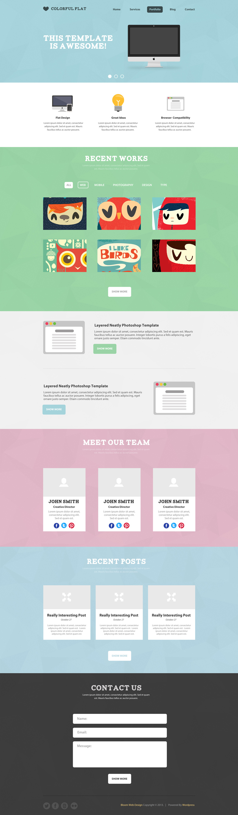 Free Flat One Page Website Psd Template Free Psd Template One Pager Web Template Design One Page Website Psd Template Free