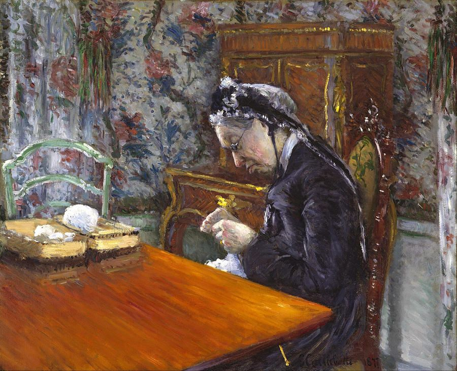Mademoiselle Boissiere Knitting By Gustave Caillebotte Knit Art