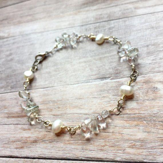 Handmade genuine pearl and green amethyst by Ellieshandmadeart