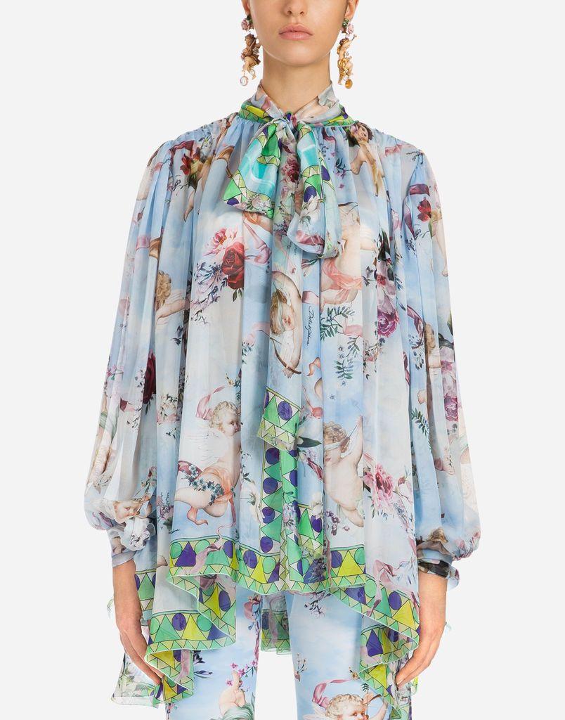 df5bc9114767 PRINTED CHIFFON BLOUSE | Print on Print in 2019 | Tops, Shirts, Women