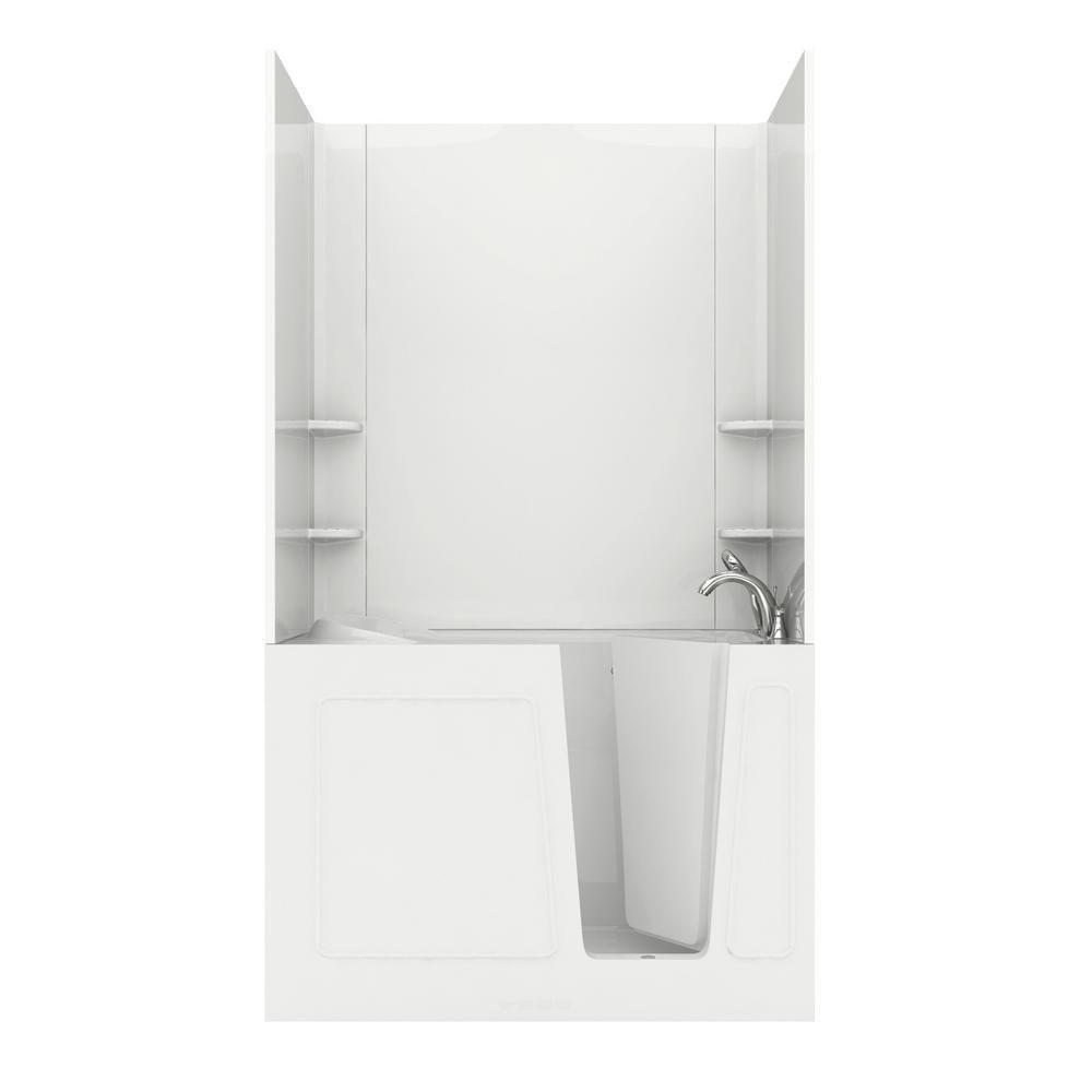 Universal Tubs 4.5 ft. Walk-in Air Bathtub in White with Chrome Trim ...