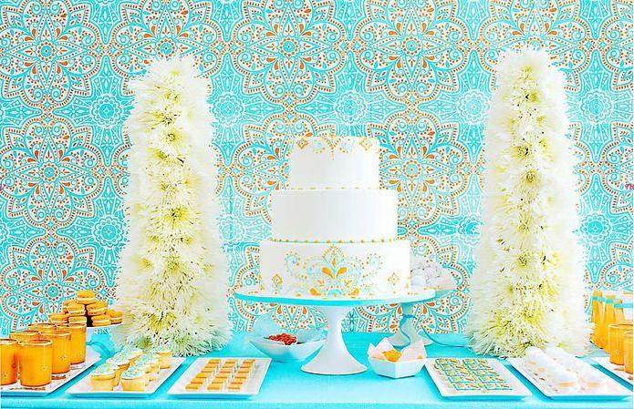 Blue and orange dessert buffet by Amy Atlas