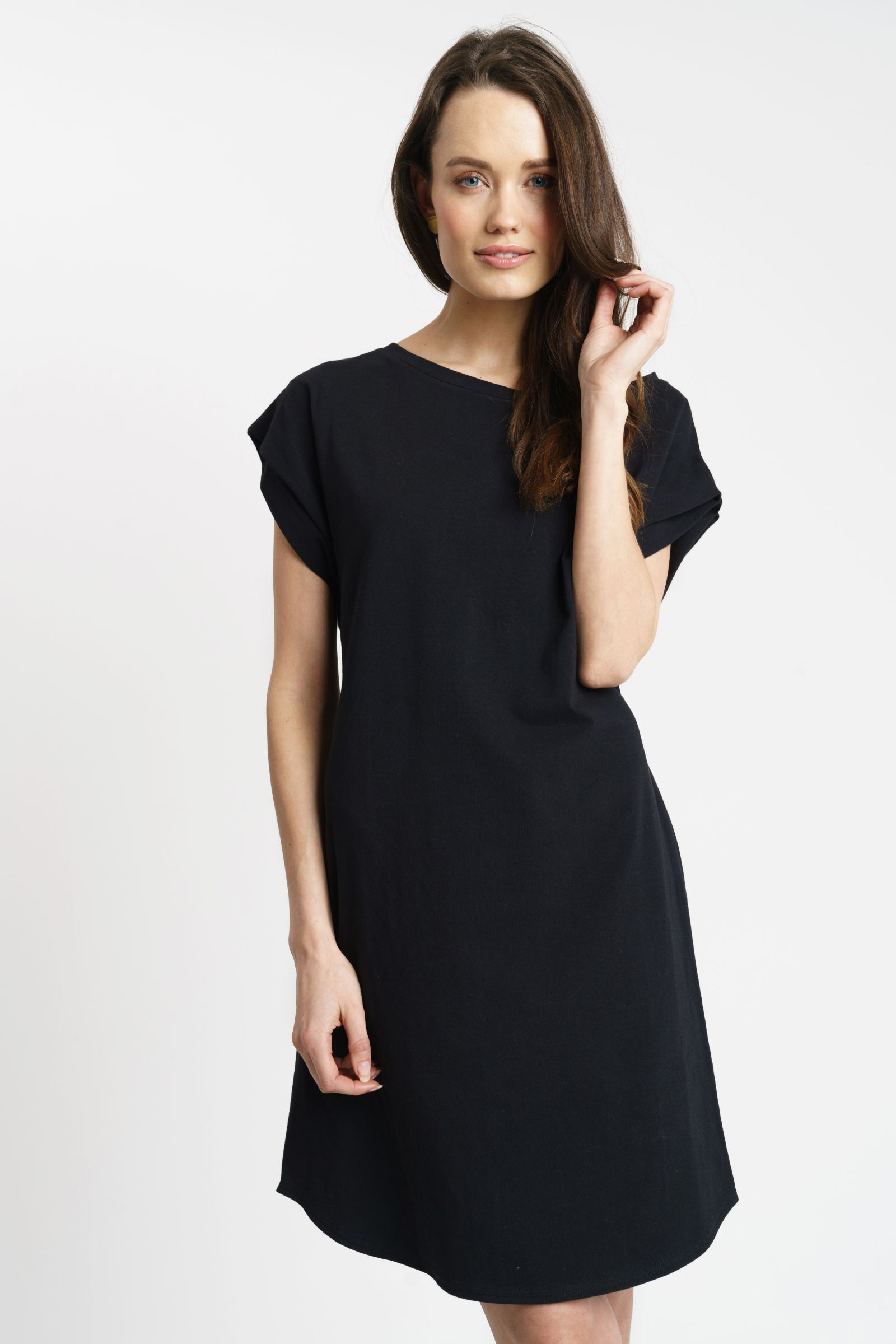 ELLIE DRESS cotton black  Modestil, Schwarzes kleid knielang, Kleider