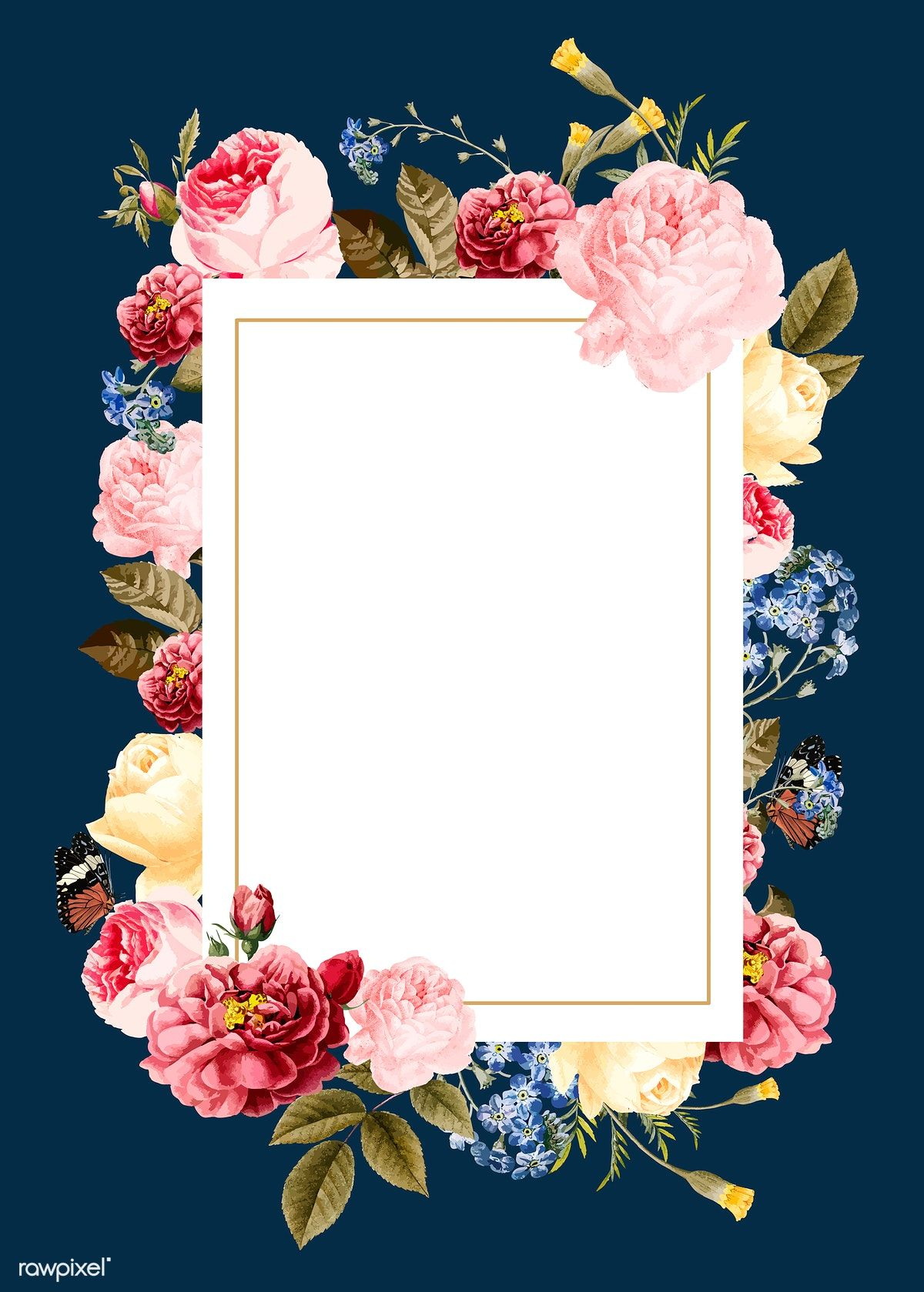 Download premium vector of Blank floral frame card vector