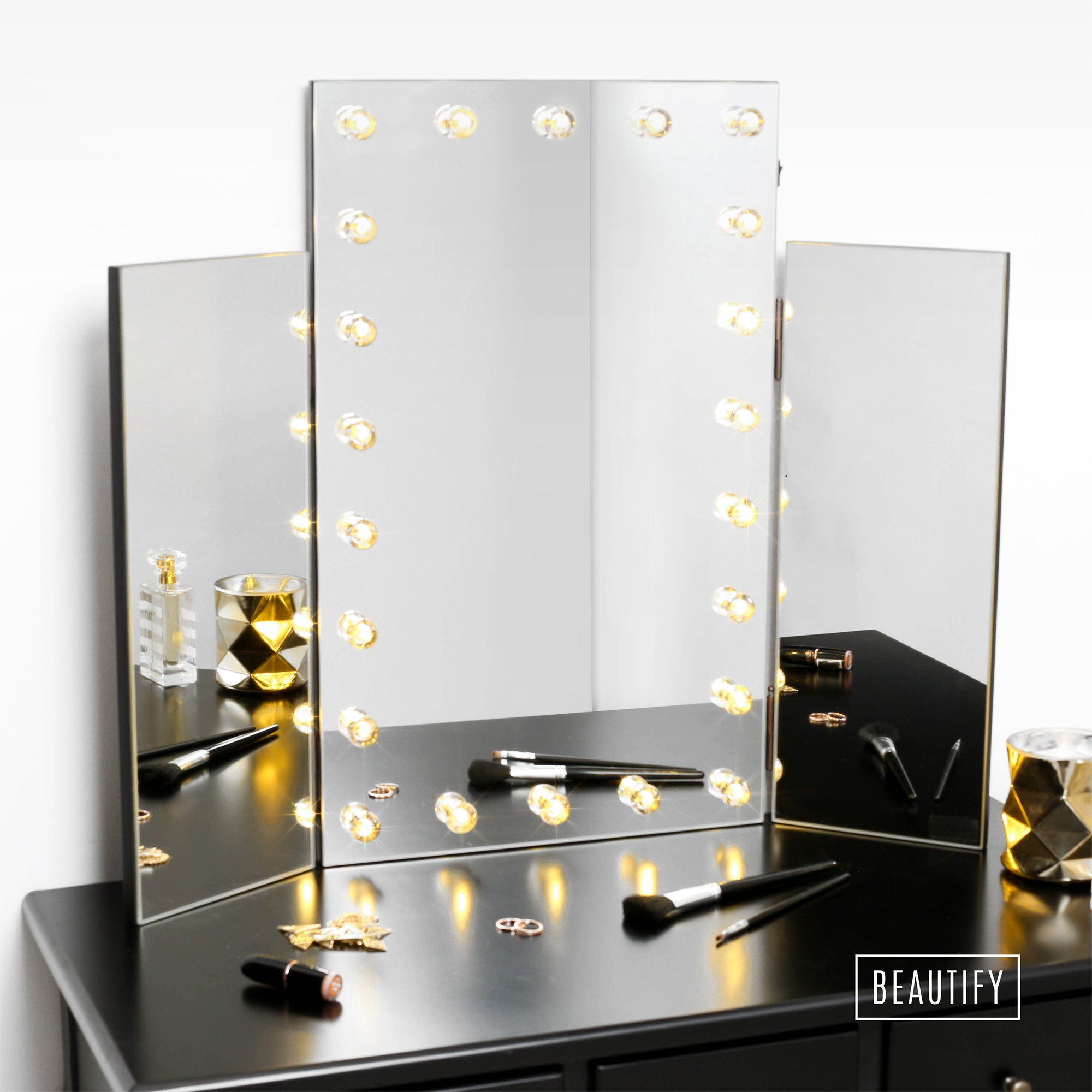 Beautify Large Trifold Hollywood Lighted Makeup Dressing Table Vanity Mirror  With 22 LED Lights   Warm Subtle Natural Lighting. Classically Stylish Tri  Fold ...