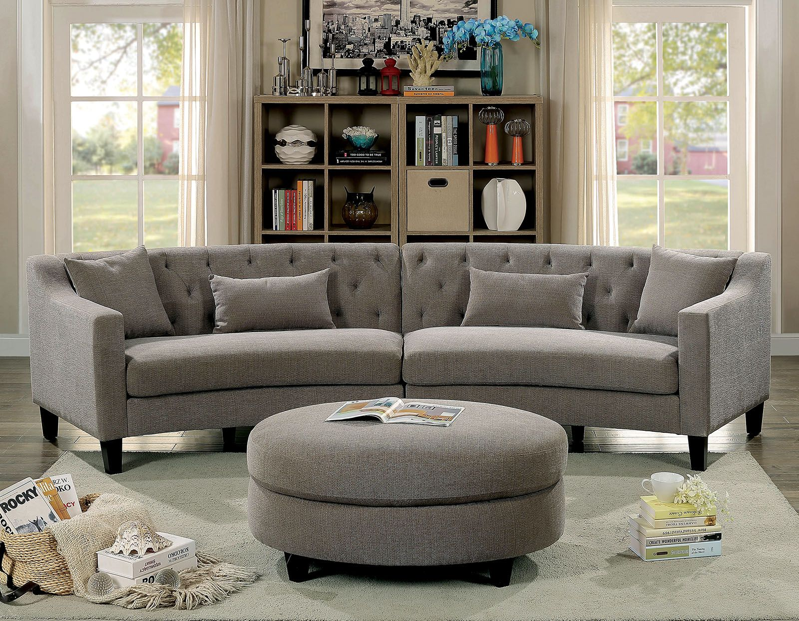 Sarin 6370 Grey Rounded Tufted Back Sectional Sofa With Images