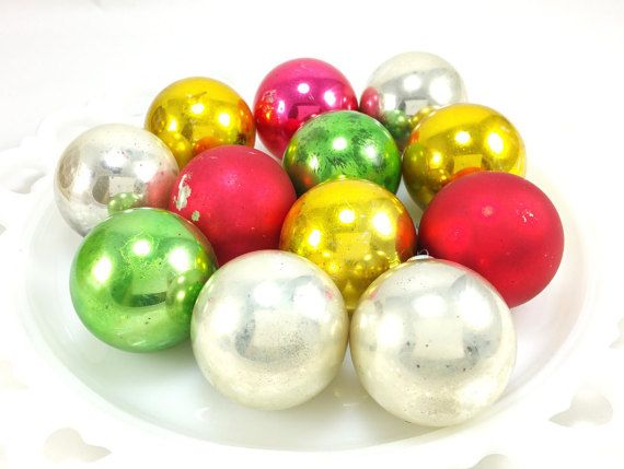 Vintage Set of Shiny Brite Ornaments - Set of 12 (1960s)