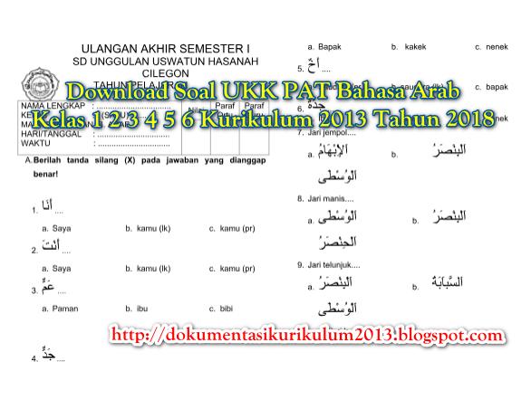 Download Soal Ukk Pat Bahasa Arab Kelas 1 2 3 4 5 6 Kurikulum 2013