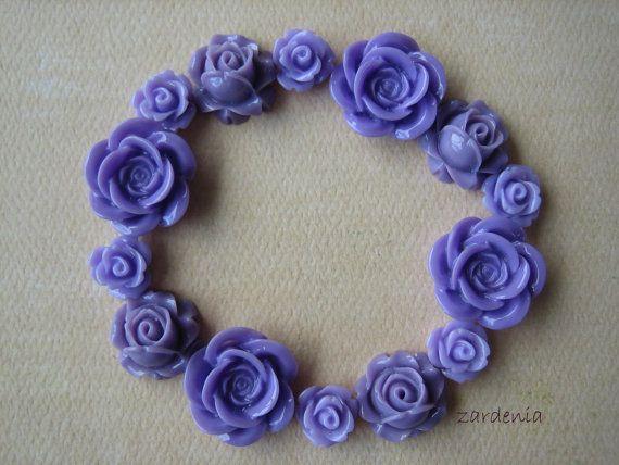 4 pieces Purple Mini Flowers Purple Flowers Resin Cabochons Mini Lotus Flower Cabochons 9mm Purple Cabochons Zardenia