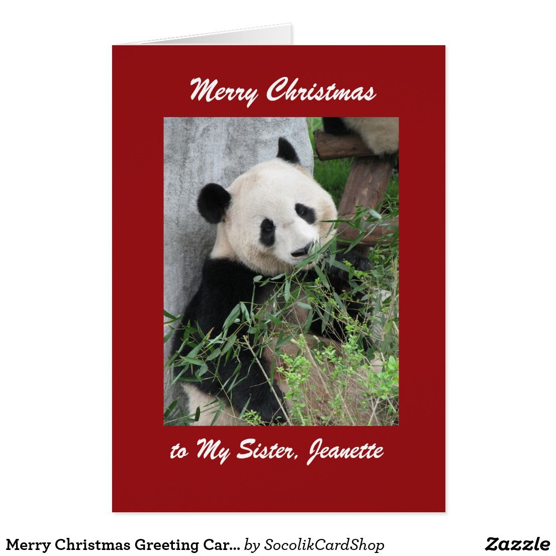 Merry Christmas Greeting Card Panda Red Border Panda Merry And