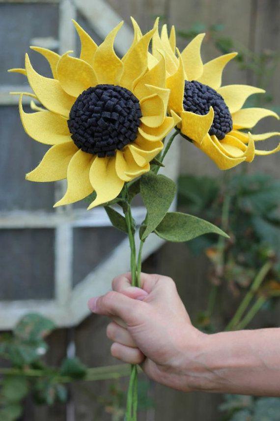 felt sunflower  build your own bouquet  by thefeltflorist