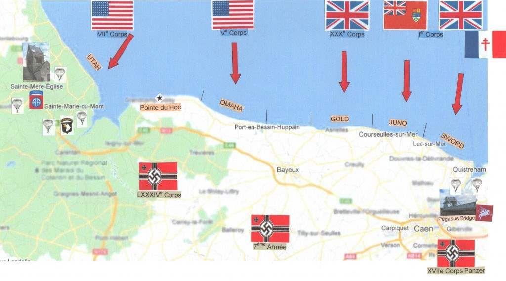 carte des plages du débarquement Épinglé par Lulu Fenouil sur Débarquement en normandie