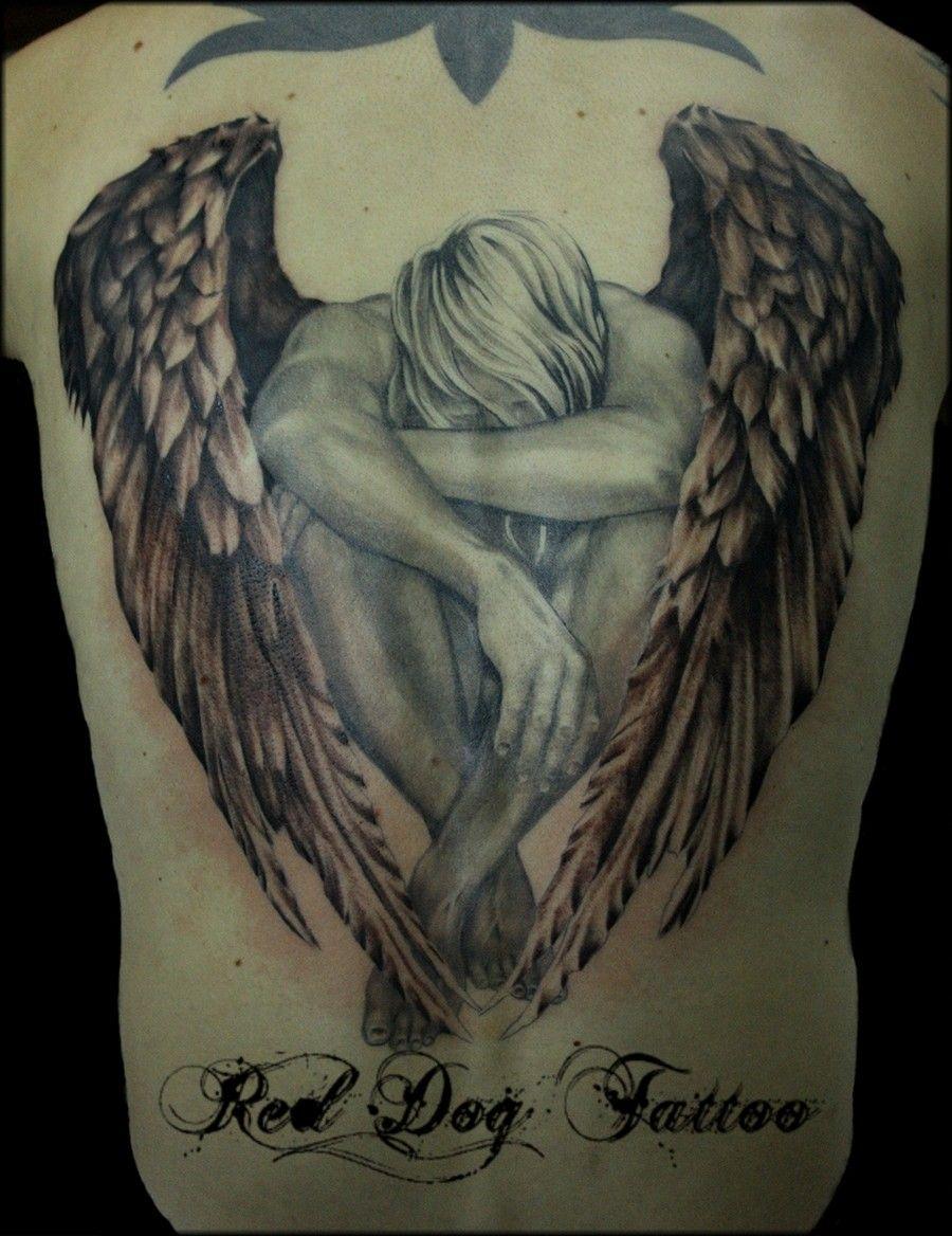 Warrior Angel Tattoos Grey Ink Warrior Angel Tattoo On Right Half