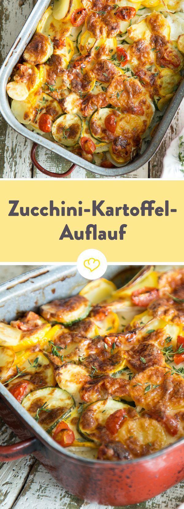 Zucchini-Auflauf mit Kartoffeln, Ziegenkäse und Parmesan