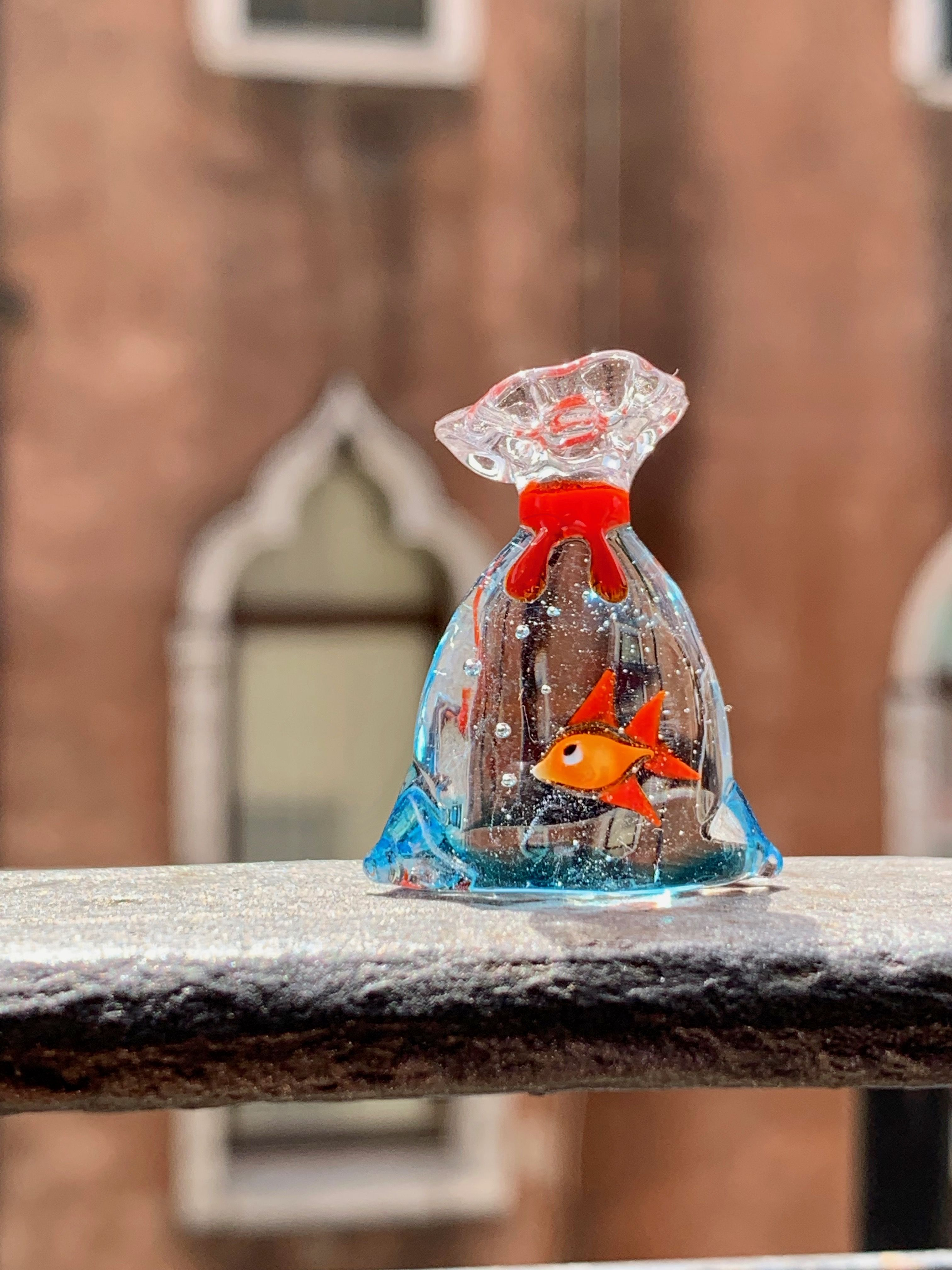 Murano Glass Goldfish Red Fish In A Bag Of Water Miniature