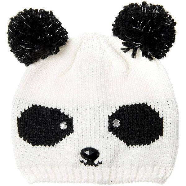 8423a4cd181 Glow In The Dark Knit Panda Beanie Hat ( 19) ❤ liked on Polyvore featuring  accessories