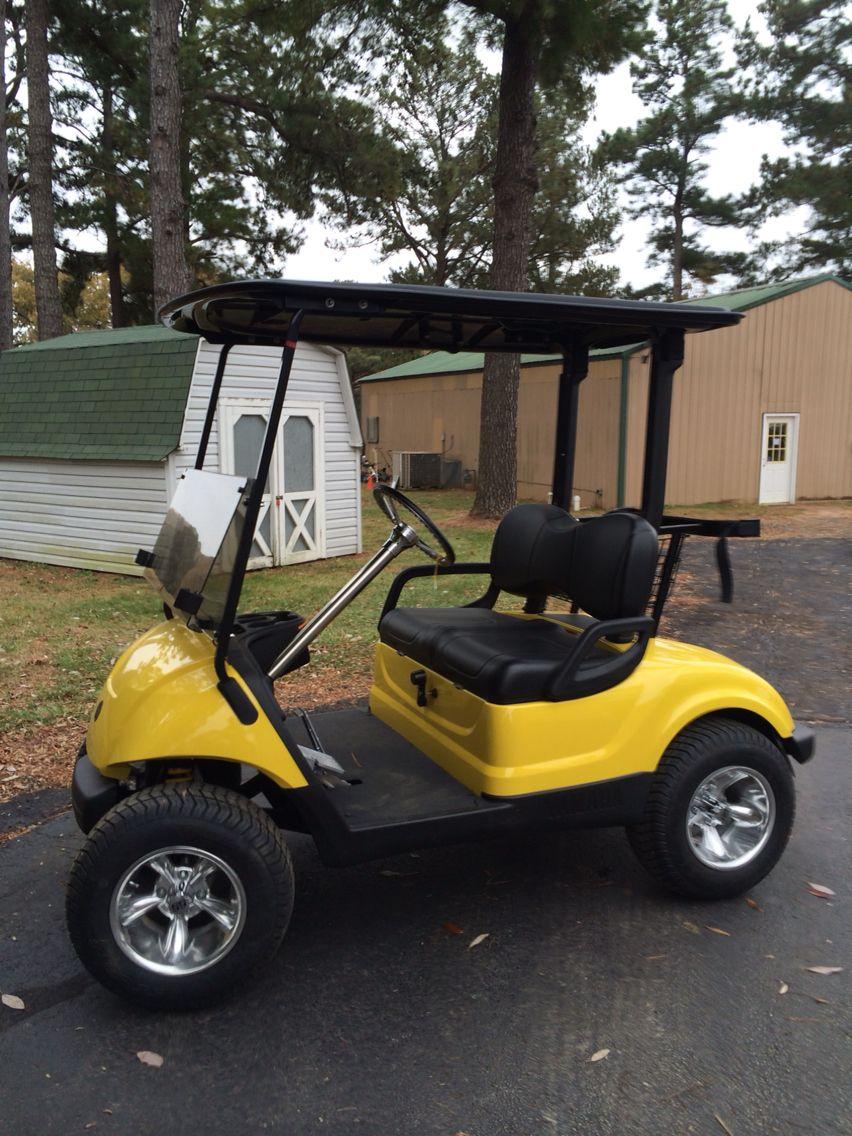 Corvette Yellow Yamaha Golf Car Cragar Wheels Black Top Seats Prime Genset Pr7500cl 6000watt Chrome Steering Column Cover Custom Wheel 2 Lift Kit
