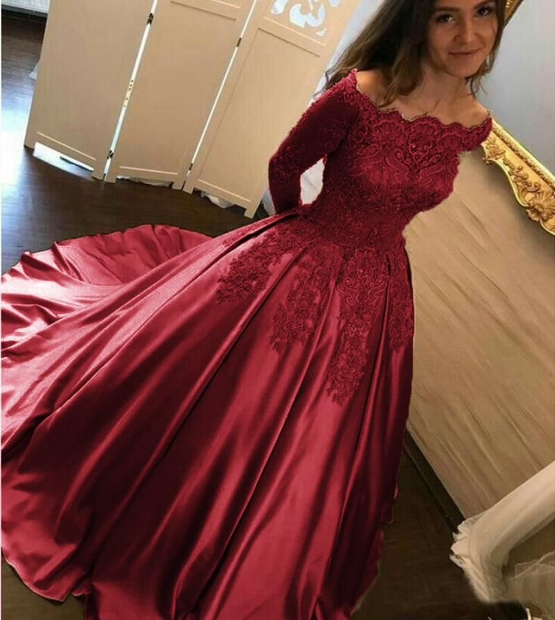 Off Shoulder Burgundy Lace Satin Ball Gown Wedding Dress Reception Wedding Party Dress Girls Quinceanera Dress Ball Gowns Prom Ball Gowns Prom Dresses Ball Gown